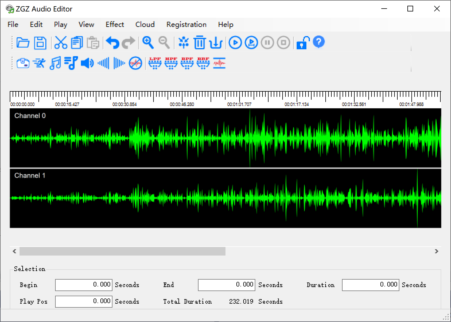 Screenshot of ZGZ Audio Editor